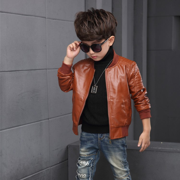 2018 New Baby Boy Faux Leather Jacket Boys Coat Black And Brown