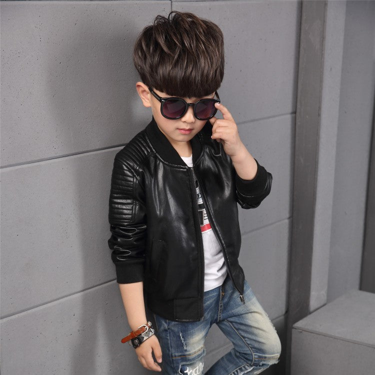 952f1386005d 2018 New Baby Boy faux Leather Jacket Boys Coat Black and Brown ...