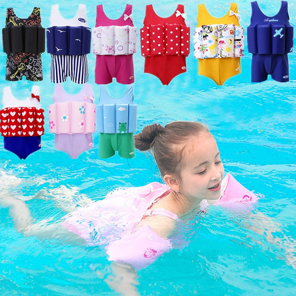 4322a0b93cf 2018 New Baby Kids Buoyant Swimming Suits Detachable One Piece Swimwear  Swimsuit for Boys Girls