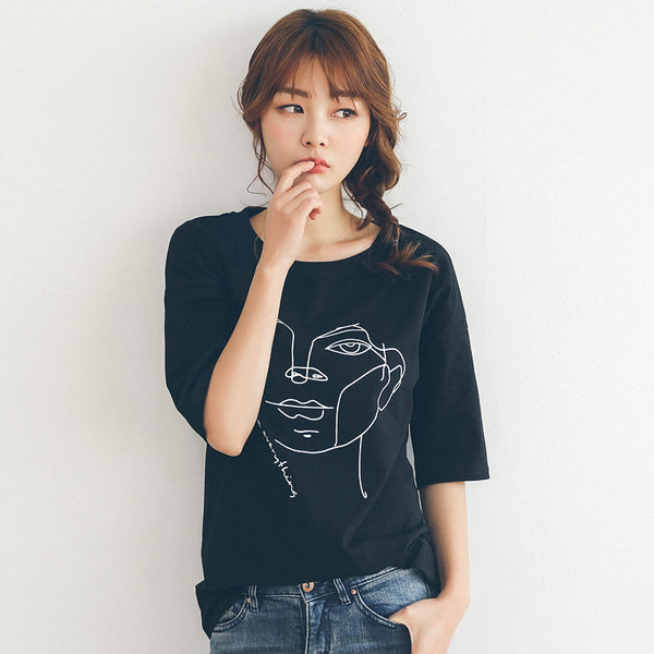 2018 New Casual Black T-shirt Women Short Sleeve Tees T-shirt Women Cotton T shirt Women Cotton Summer O Neck T-Shirt