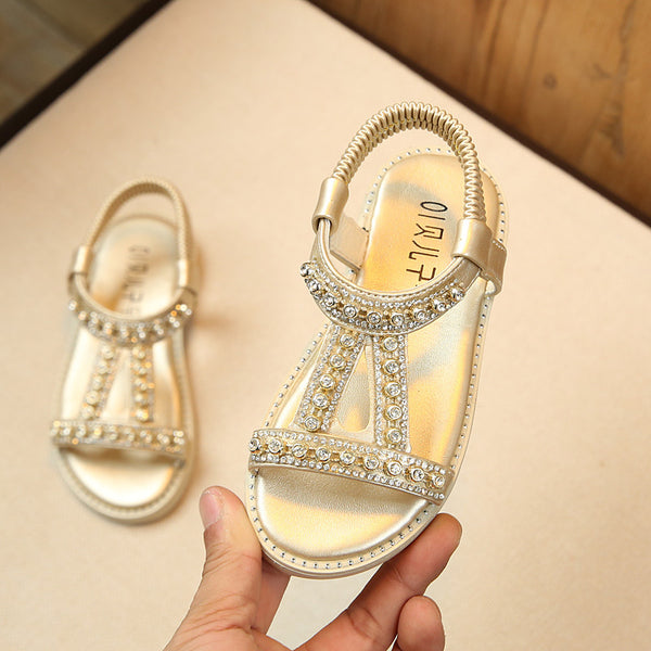 2018 New Children Summer Baby Toddler Little Girl Sandals Pink Gold Silver Princess Shoes For Kids Girls Rhinestone Sandals 28