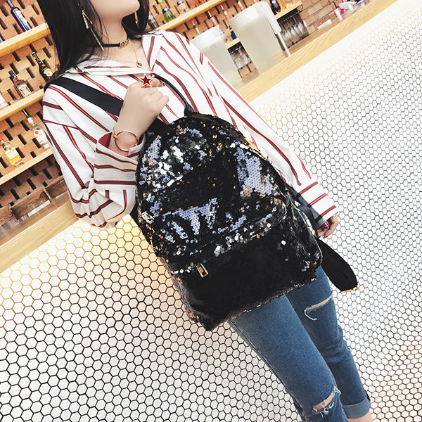 2018 New Designed Stylish PU Leather Sequins Woman's Backpack Eye-catching Backpack Girl's