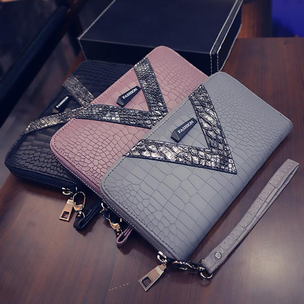 2018 New Pu Long Women Wallet Crocodile Pattern women's purse Best Phone Wallet Female Case