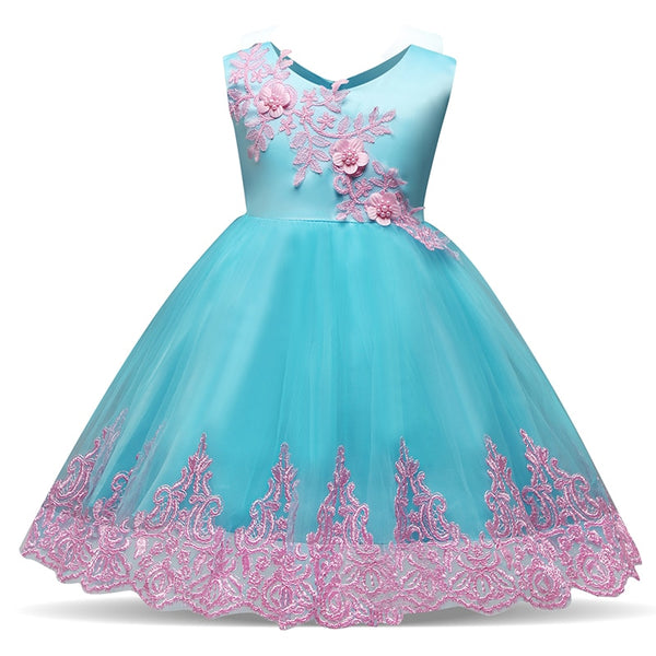 2018 New Style Blue Embroidery Dresses Girls 1 3 5 Years Clothes Kid Girls Baptiam costume Flower