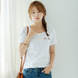 2018 New Style Letter Embroidery Short Sleeve T-shirt Women Small Fresh Casual Tees Tops Loose T-shirt Women Cotton Female