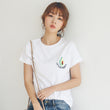 2018 New Style Summer Avocado Embroidery T-shirt Women Short Sleeve Small Fresh Casual Tees Tops loose female t-shirt korean
