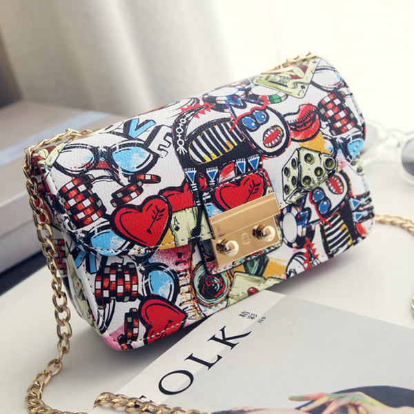 2018 New Women Bags Summer Graffiti Ladies designer handbags high quality chain mini bag women
