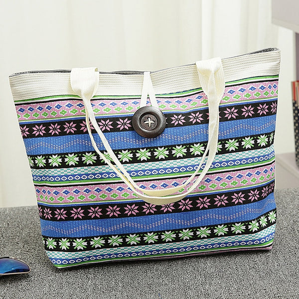 2018 New Women's Canvas Beach Shoulder Bag Fashion National Wind Fabric Printed Single Art