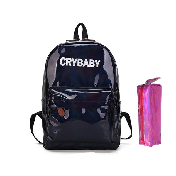 2018 New women hologram backpack laser daypacks girl school bag female silver pu leather