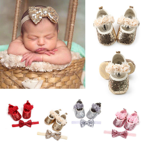 2018 Newborn Baby Girl Sequins Glitter Crib Shoes+Hairband Soft Sole Shoes Cute Summer Prewalker