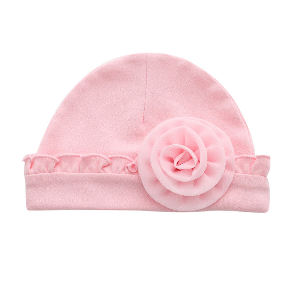 2018 Newborn Baby Girls Infant Flower Hat Soft Cotton Beanie Hat for ... e9aa809d6af