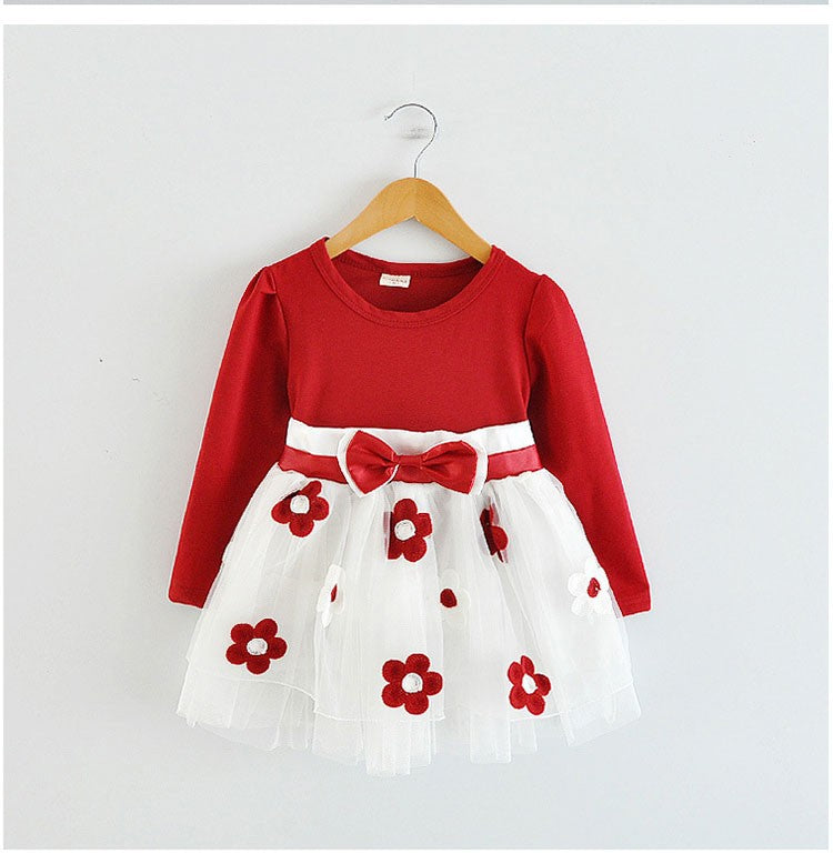 25ae8ad7cc5e6 2018 Newborn Cute Flowers Girl Dress wedding 1 year Birthday Baby princess  Winter infant Kids dresses girls Clothes Tutu Dress