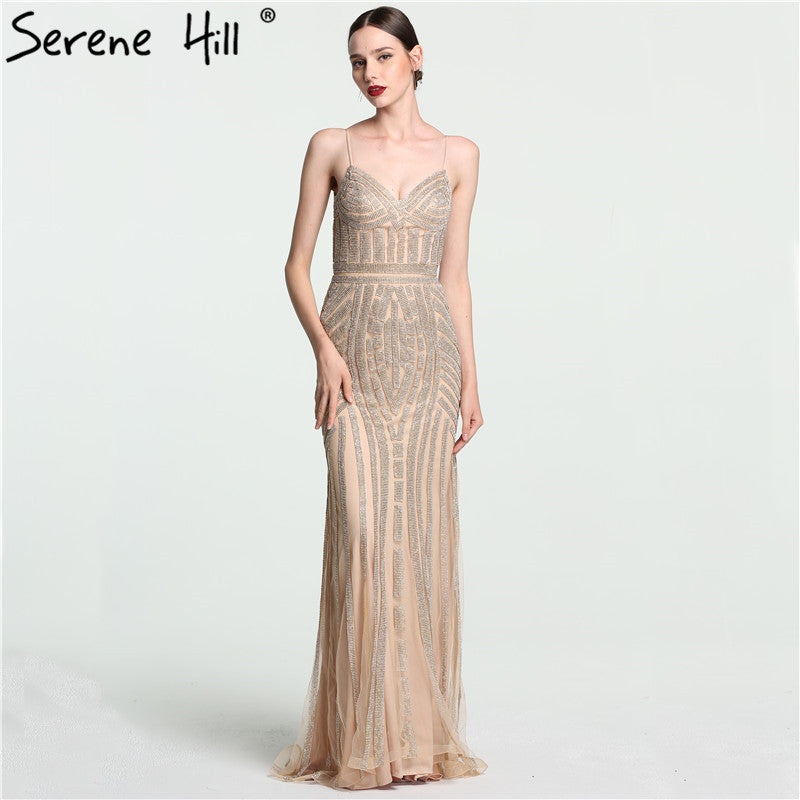 daf2d77cfbe 2018 Robe De Soiree Diamond Evening Party Dress Nude Color Tulle Grey  Sliver Party Occasion Formal Long Evening Dress LA6002 – Beal
