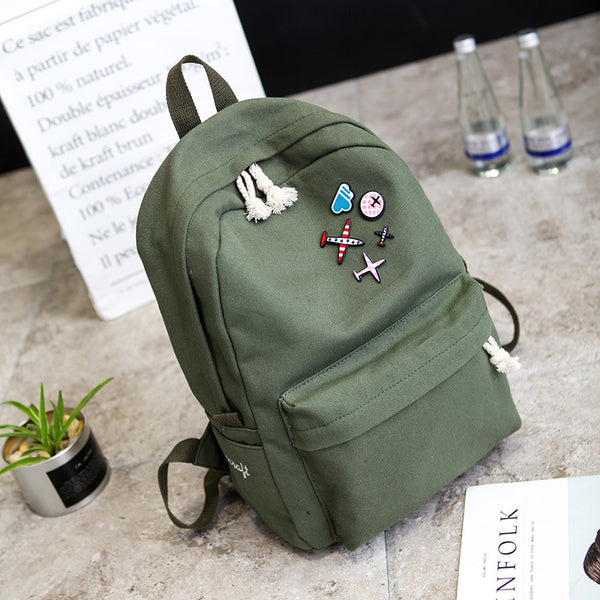2018 Solid Color Canvas Women Backpack High Capacity School Bag Student Adolescent Girl Backpack