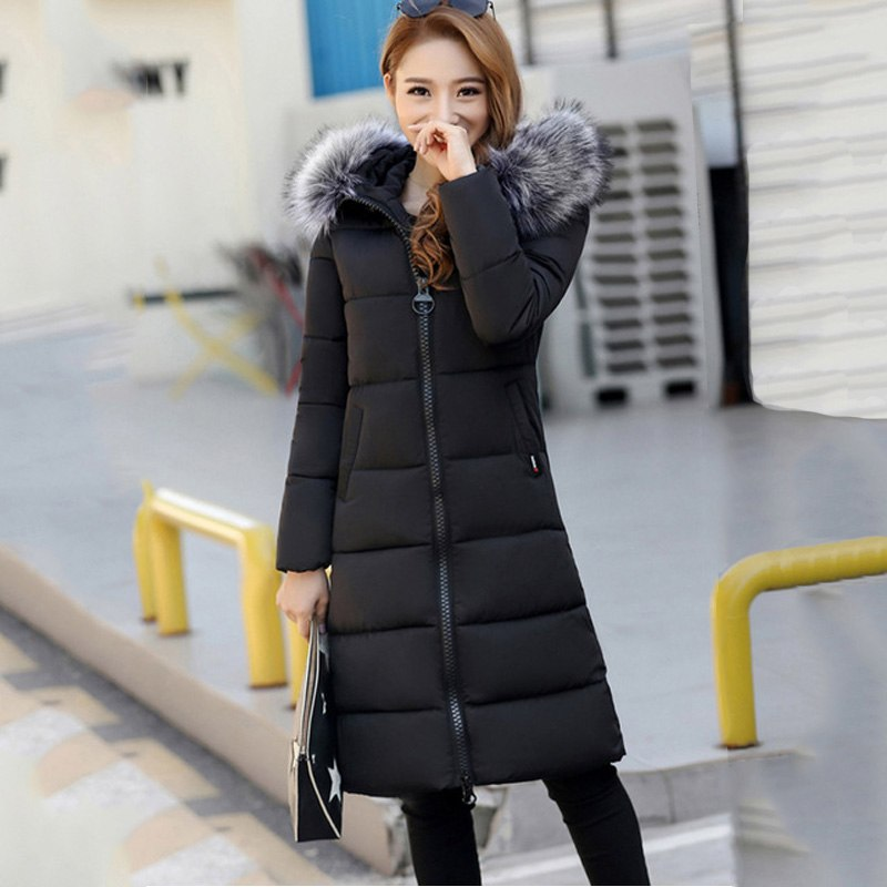 cc82c5b2c0 2018 Solid Long Parkas Female Women Winter Coat Thick Cotton Winter ...