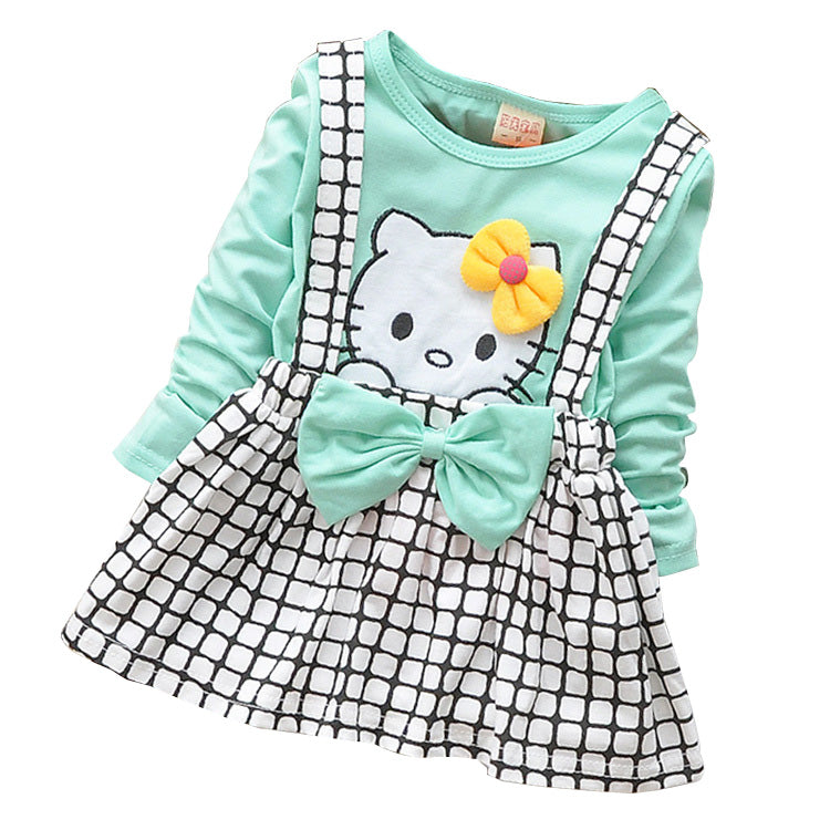 5088df5bfea99 2018 Spring Summer KT Cat Baby Girl Dress Long Sleeve 1 Year Baby Birthday  Dress Strap Plaid Infant Girl Dresses