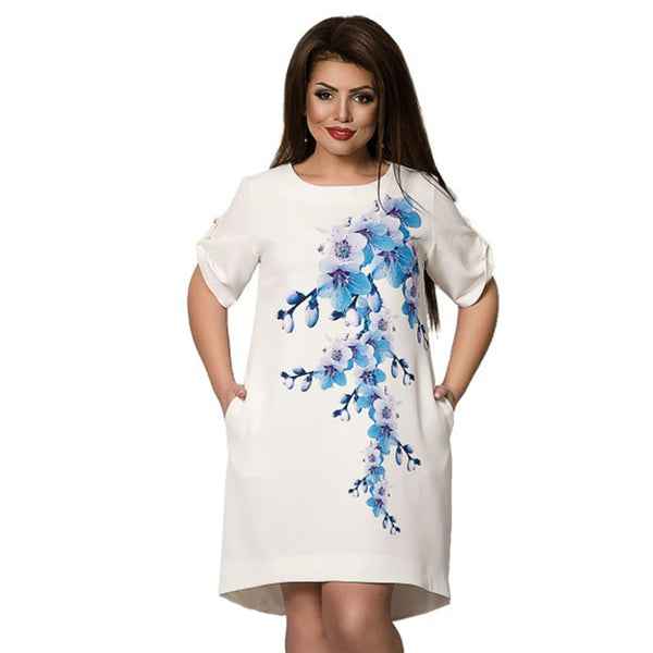 2018 Summer Beach Dress 5xl 6xl Floral Chic White Dress Half Sleeve Plus Size Dress Casual Big Size