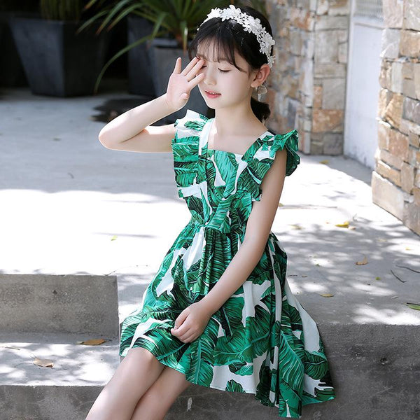 2018 Summer Casual Cotton Princess Dress For Girls Leaf Printing Knee Length Girls Beach Dress Lovable Kids Green Vh023