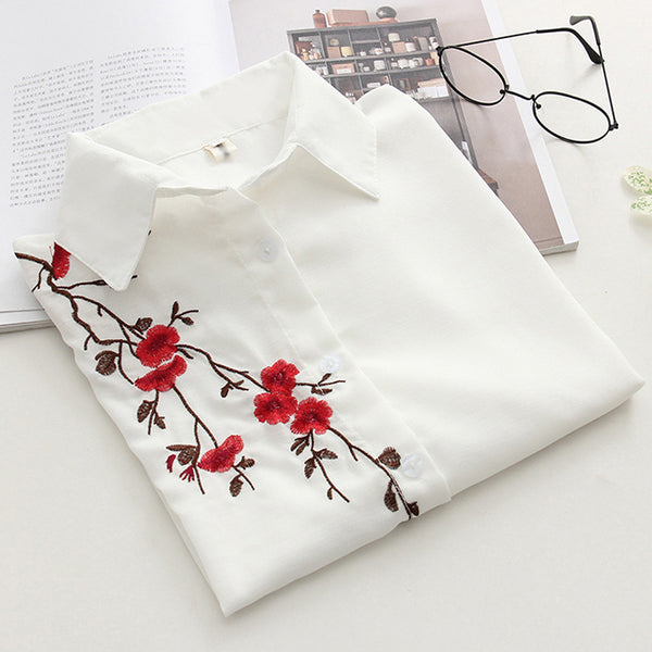 2018 Summer Casual Linen Loose Blouse Womens Short Sleeve White Womens Tops And Blouses Sexy Floral Embroidery Blusa Feminina