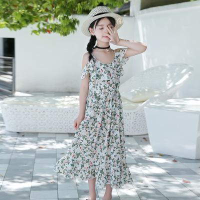 2018 Summer Children Casual Floral Beach Dress For Big Girls Sling Off-shoulder Dress Kids Cotton Princess Dress Vacation Vh029