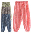 2018 Summer Children Clothes Floral Print High Waist Loose Thin Cotton Linen Girl Pants Kids