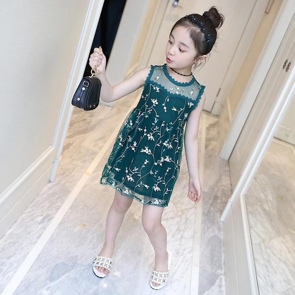 2018 Summer Children Clothes Sleeveless Girls Lace Dress Korean Style Embroidery Cute Floral One-piece Little Kids White VH039