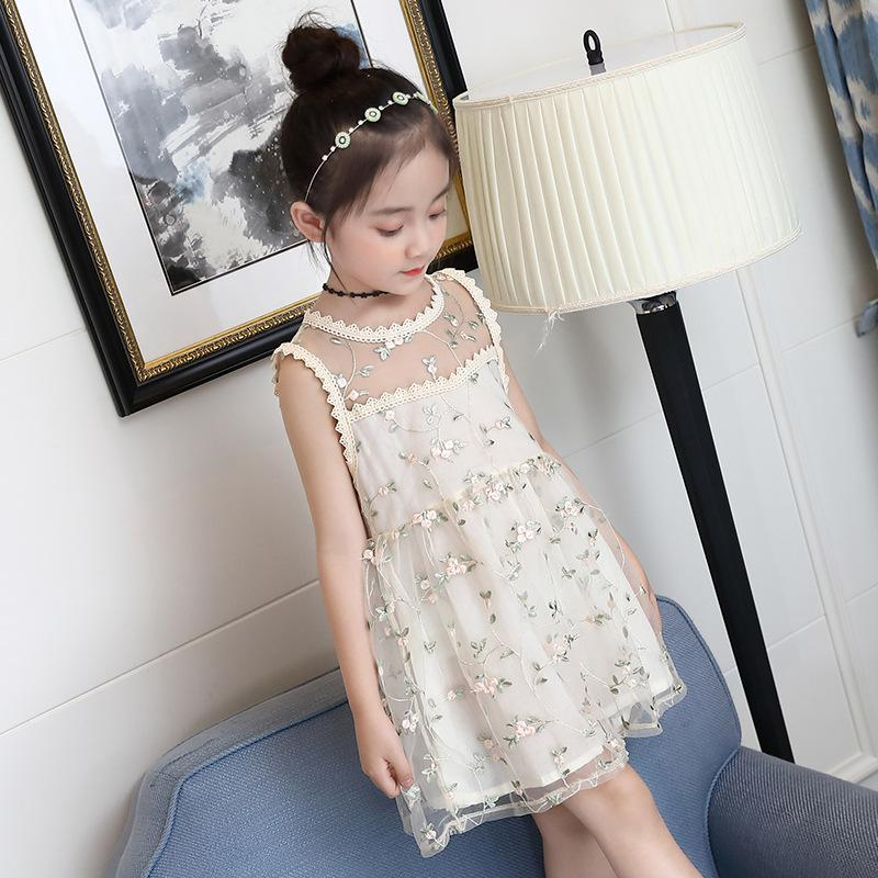 48f152270f67 2018 Summer Children Clothes Sleeveless Girls Lace Dress Korean ...