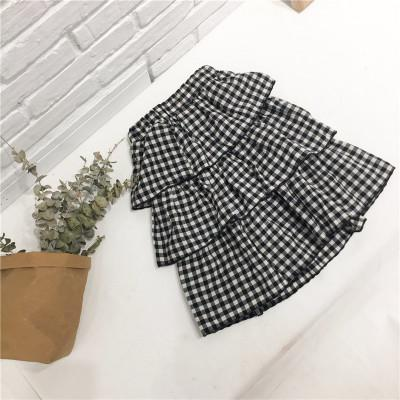 2018 Summer Children Tiered Skirt Black White Plaid Cotton Fashion Pleated Kids New Casual Layered Skirts For Baby Girls VH063