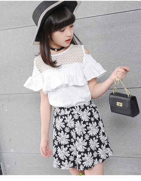 2018 Summer Children's Skirt Suits Strapless Two Piece Set Kids Short Sleeve Pure Color Printing  Cotton Girls White FH803