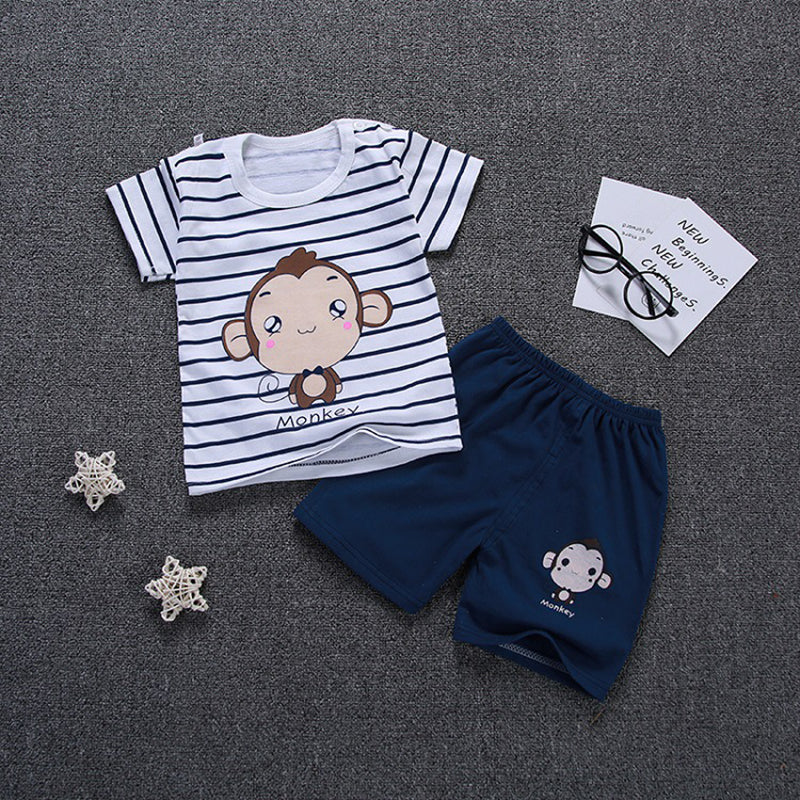 5d1dfb498913 2018 Summer Cotton Boys clothes Cute Cartoon Elephant Short Sleeves Kids  Clothing Set O-neck Comfort Baby Children Clothing – Beal