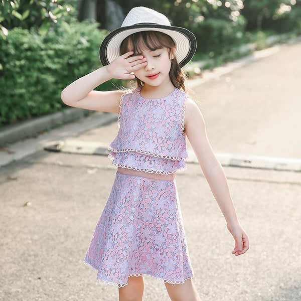 2018 Summer Girls Floral Dress Sleeveless Kids Lace Classical Slim Round Collar Sweet Pink Knee Length Dresses Children VH097