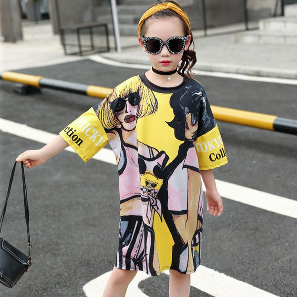 2018 Summer Loose Casual Long T-shirts For Girls Cartoon Graffiti Printing Fashion Dress For Children Cotton O-neck Yellow Vh091