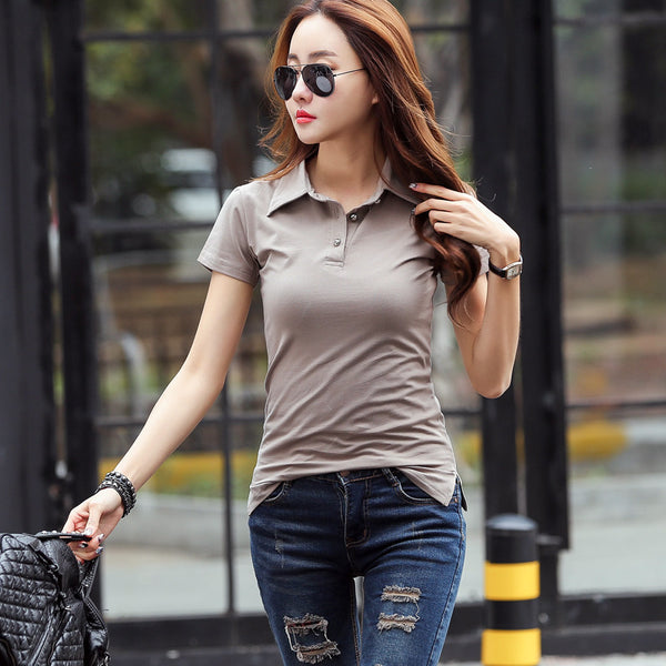 2018 Summer Polo Shirt Women Short Sleeve Solid Slim Polos Mujer Shirts Tops Fashion 100% Cotton Polo Femme Plus Size 5 Colors
