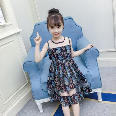 2018 Summer Princess Sling Dress For Big Girls Floral Dress Girl Cute Kids Sleeveless Dresses For Children Blue Green Vh021