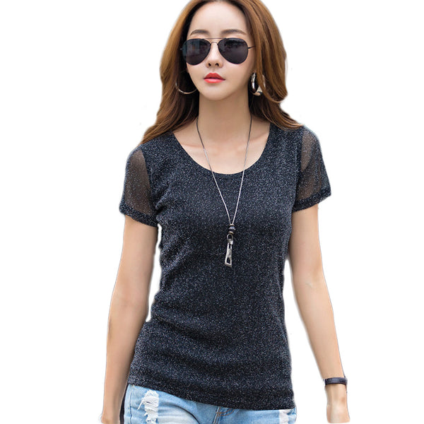 2018 Summer Shiny Lurex Women T-Shirt Casual O-Neck Tees T-shirt Women Cotton Solid Short Sleeve Women T Shirt Plus Size
