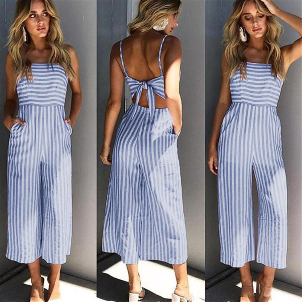 d30277997d 2018 Summer Women Striped Backless Jumpsuit Romper Plus Size Sexy Bow –  Beal