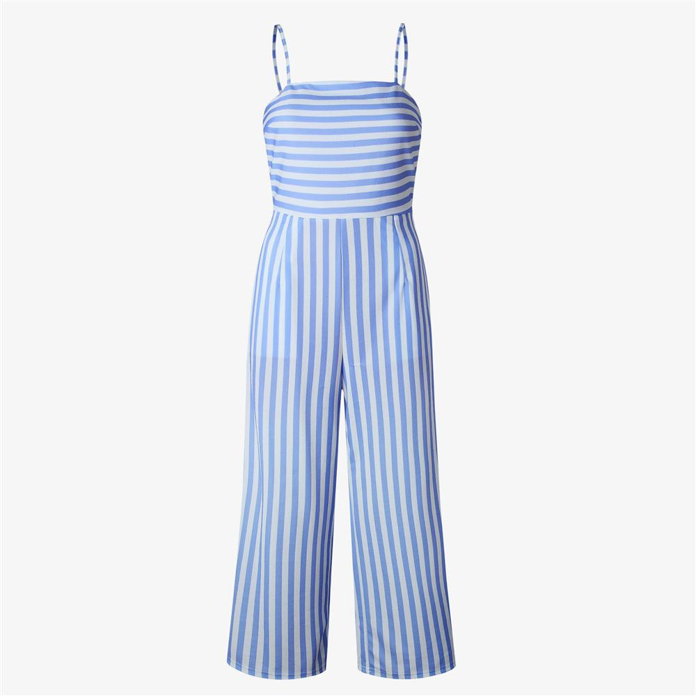 a86f8af6b2a 2018 Summer Women Striped Backless Jumpsuit Romper Plus Size Sexy ...
