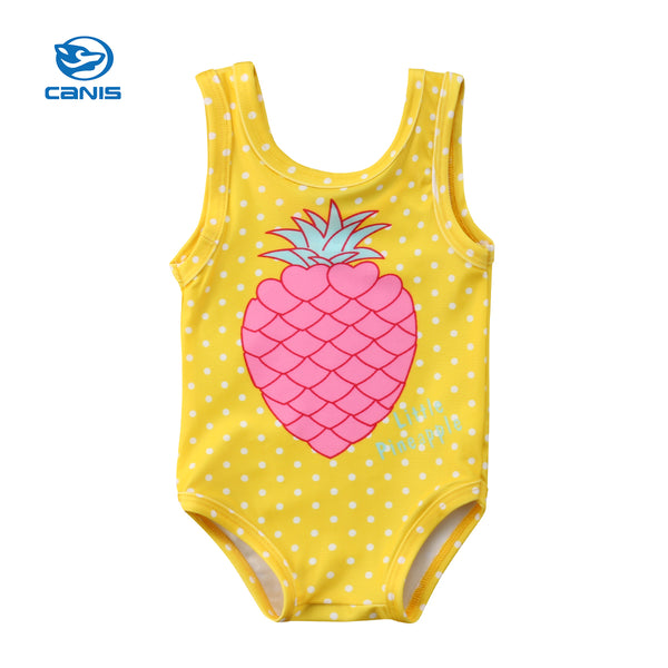 5e67da6ce8d39 2018 Summer Yellow Toddler Baby Girls Pineapple Polka Dots Swimwear  Swimsuit Bathing Suit