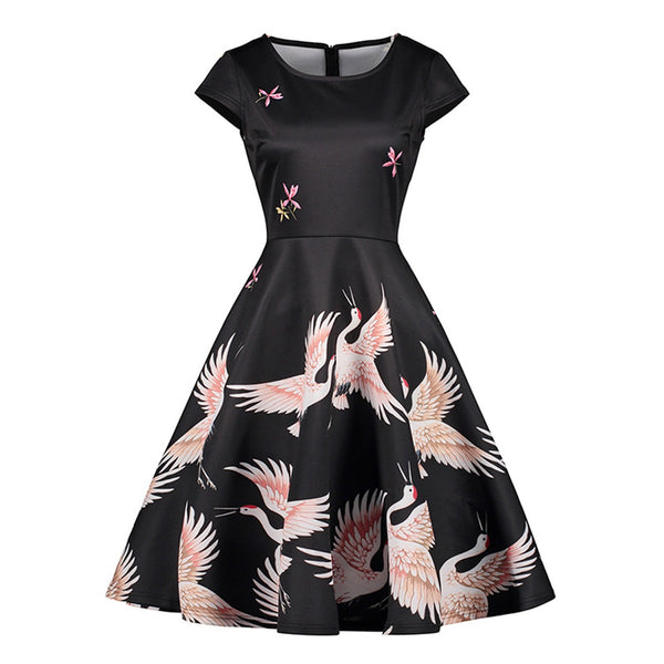 2018 Vintage Black Office Lady Cute Women Dresses Print High Quality Girls Animal Fashion Elegant