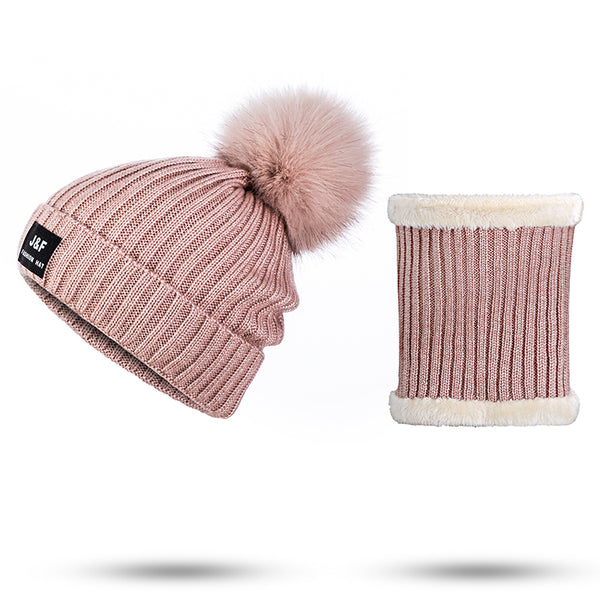 2018 Winter Hat&Scarf For Women Knitted Winter Hat And Scarf Set Female Pompoms Beanies Knit Scarf For Girls Thick Accessories