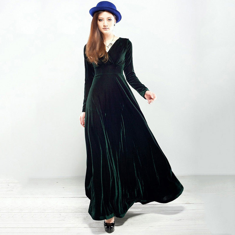 4c0feaef7d2 2018 Women Autumn Winter Elegant Long Dress Casual Long Sleeve Ball Gown  Dress Vintage Velvet Party Pleated Dresses Plus Size – Beal