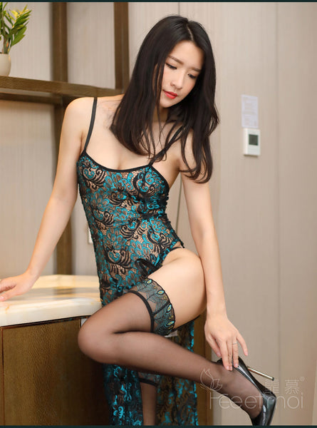 2018 Women Sexy Lace Hollow Embroidery Peacock Romantic Teddy Nighties Boutique Cheongsam  Long Slips Lingerie Valentines Gifts