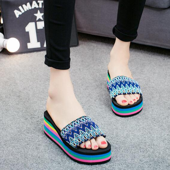 another chance clearance prices on wholesale 2018 Women Slides Sandals Slippers New Summer Fashion Rainbow ...