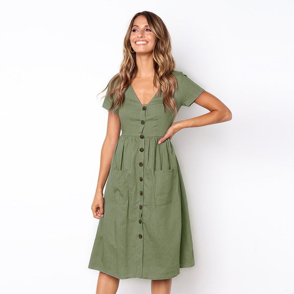 2018 Women's Fashion Summer Short Sleeve V Neck Button Down Swing Midi Dress with Pockets
