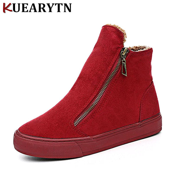 2018 Women's Winter Ankle Boots Female Zipper Flock Platform Snow Boot Ladies Plush Sneakers