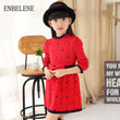 2018 autumn girls full sleeve sweater dresses for children printing red blue big kids casual O-Neck cotton dress FH349