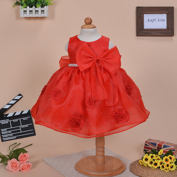 2018 baby girls princess floral dresses children organza white red flowers little kids elegant dress for birthday party FE324