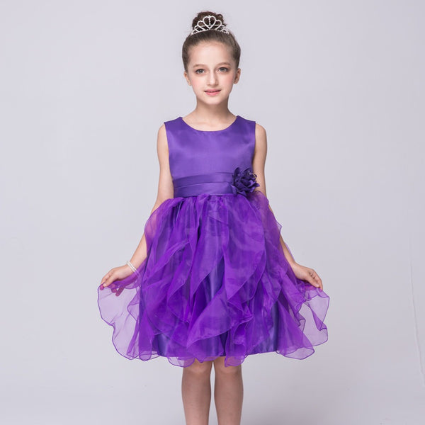 2018 children formal princess dresses girls party wedding flowers red purple blue polyester kids short puff tutu ball gown FD103