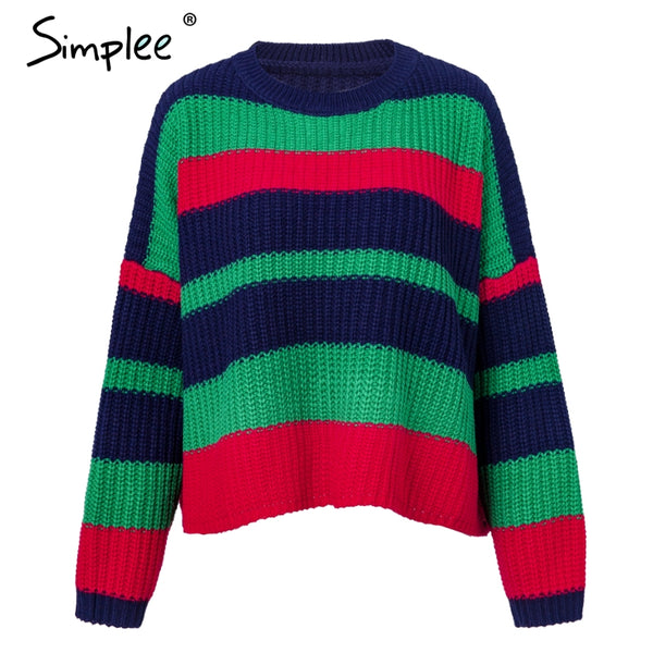 2018 fashion O neck women sweaters Vintage rainbow sweater casual pullovers and sweaters