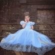 2018 girls cinderela costume chiffon princess dress children blue big kids floor length tail evening gown wedding party FD162